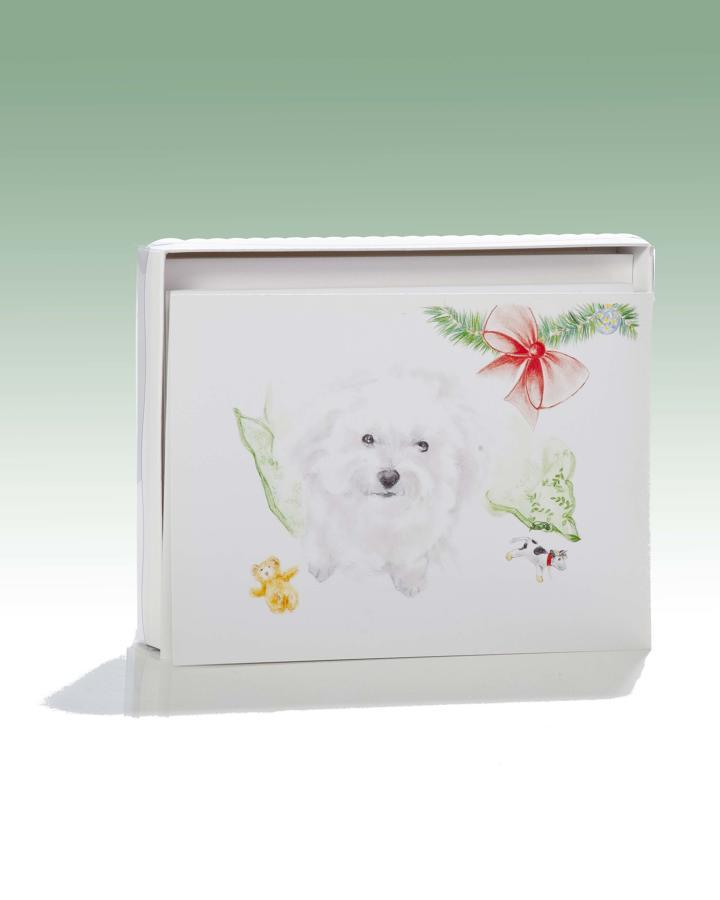 Daisy dog at Christmas card