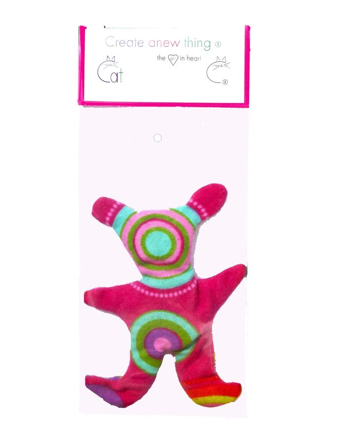 Alien pink flannel cat toy