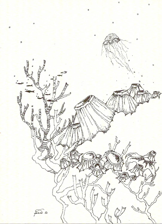 Pen & ink drawing 9  under sea