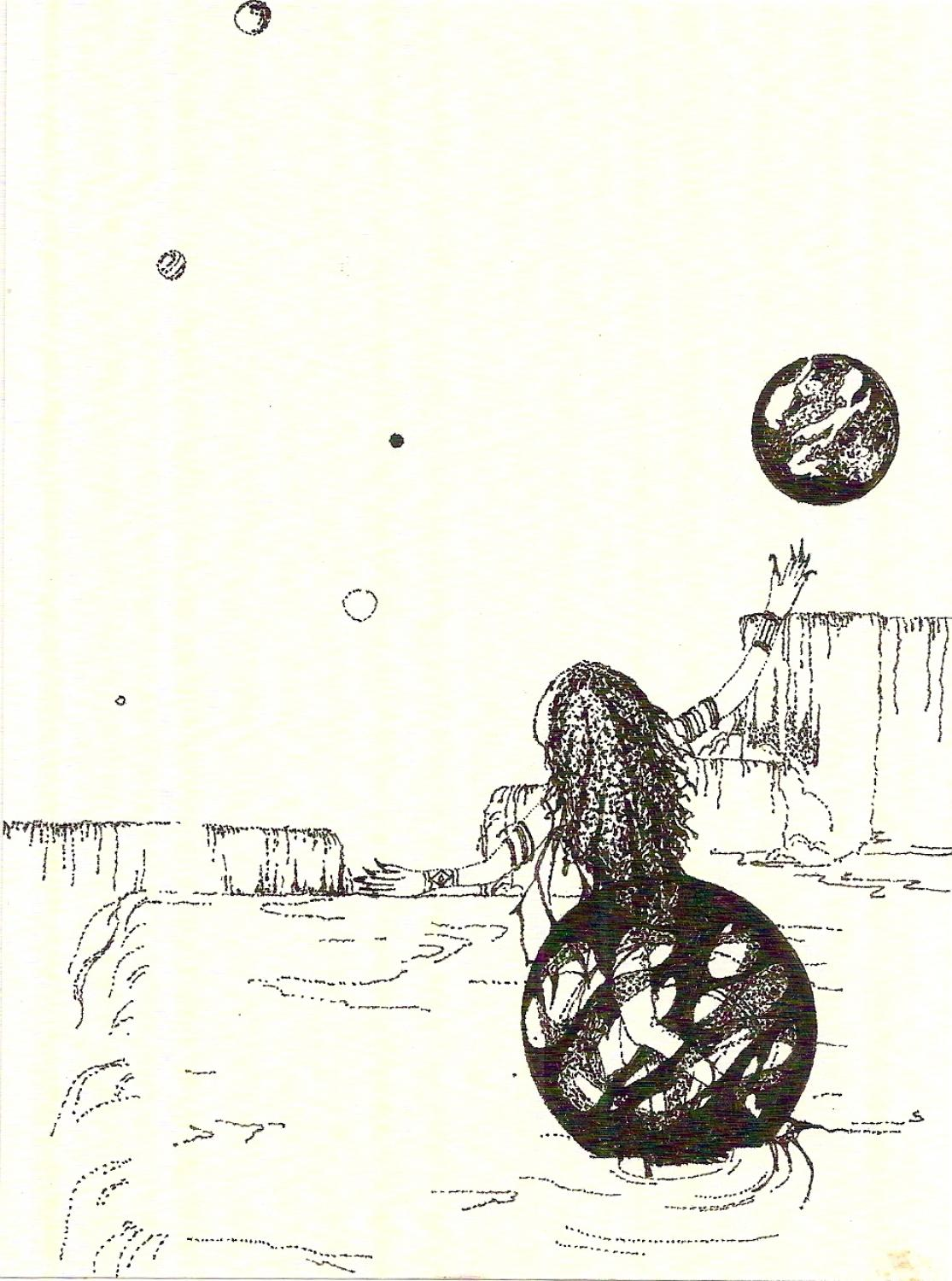Pen & ink drawing  14 worlds