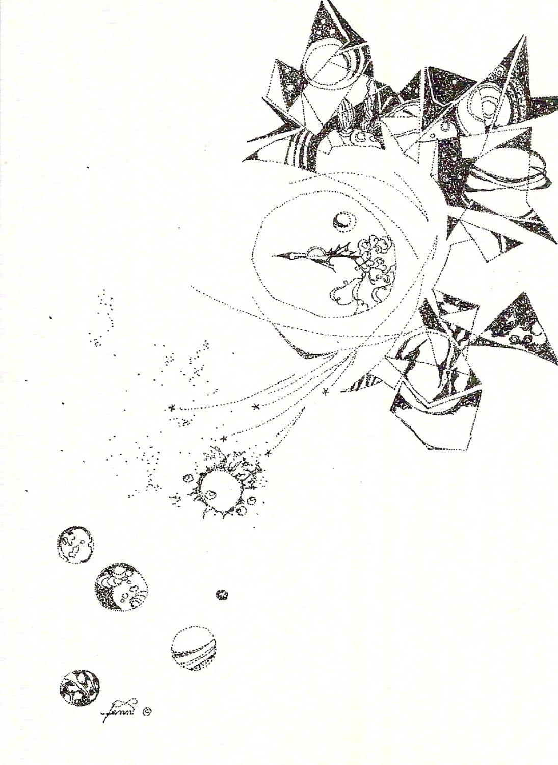 Pen & ink drawing folding space